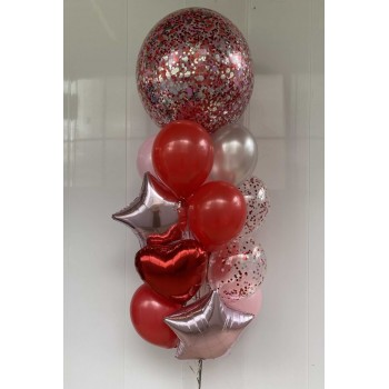 Μπαλόνι Γίγας με Κόκκινα  κομφετί με Ήλιον , 2 Αστέρια Foil 18' ,1 Καρδία 18' κ 8 Λάτεξ με Ήλιον